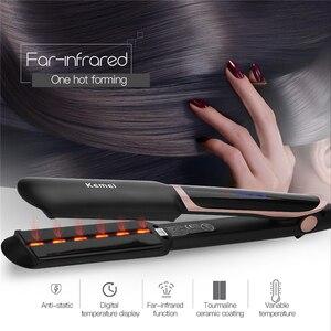 Image 1 - Профессиональный Выпрямитель для волос 2 в 1, инфракрасные щипцы для завивки волос, светодиодный дисплей, широкая пластина, плоский утюжок, инструменты для укладки, 45