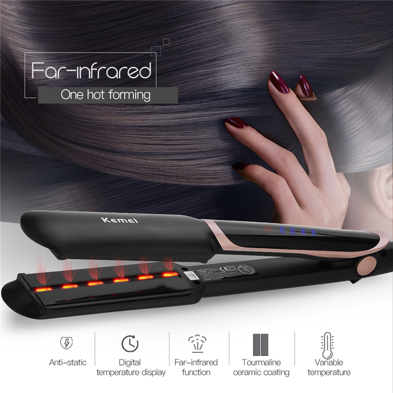 2 In 1 Hair Straightener Professional Hair Curler Far Infrared Curling Irons LED Display Wide Plate Flat Iron Styling Tools 45