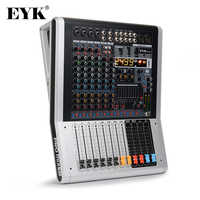 EYK EC80 8-Channel(4 Mono,2 Stereo) Audio Mixer with 9 Band EQ 99DSP Dual Effects USB Bluetooth 2 AUX 2 Recording RCA Inputs