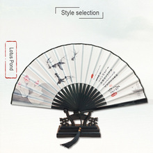 Original men's ancient fan folding fan female Chinese style classical ink silk gift craft folding fan free shipping silk traditional bamboo fan with painting ancient chinese golden