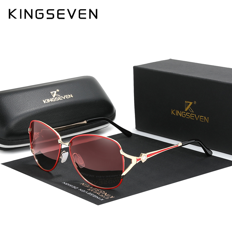 KINGSEVEN 2020 Women's Glasses Luxury Brand Sunglasses Gradient Polarized Lens Round Sun Glasses Butterfly Oculos Feminino