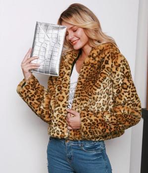 Autumn short faux mink leather jacket womens winter thick warm Leopard hood fur leather coat women jackets jaqueta de couro B31