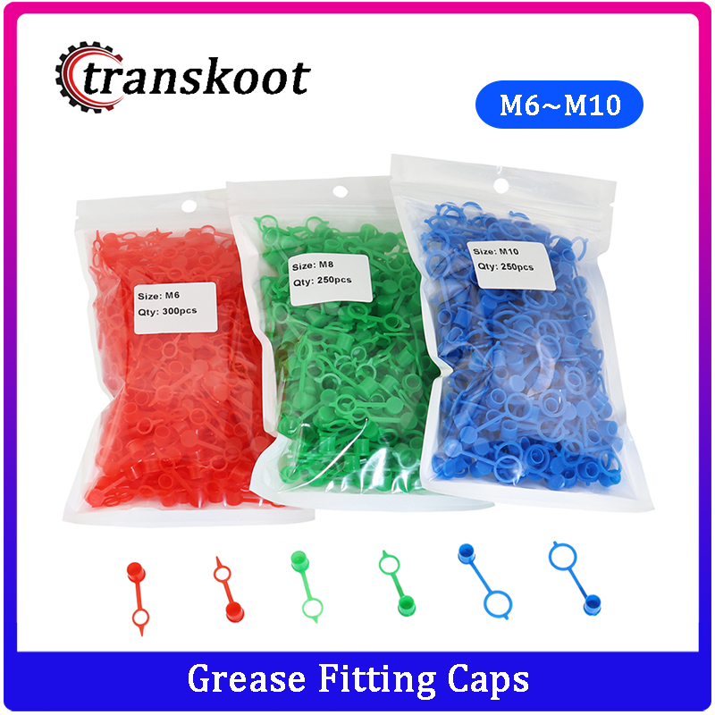 250PCS Grease Fitting Caps RED Polyethylene Dust Caps For M6 M8 M10 Metric Thread Grease Zerk Nipple Fitting