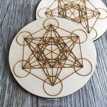 Grade de carregamento sagrada geometria metatrons cubo alter ferramentas gravadas placa de grade de cristal de madeira coaster metatron laser