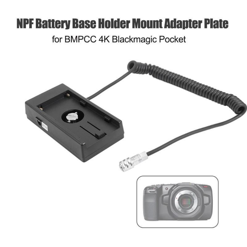 NPF Battery Base Holder Plate With Coiled Cable For BMPCC 4K Blackmagic Pocket Output Voltage Using External Power Supply