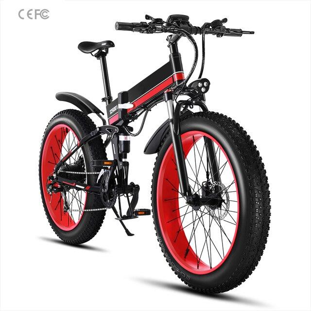 Bicicleta eléctrica de 26 pulgadas 48V 1000W, bicicleta eléctrica plegable de montaña, nieve, bicicleta eléctrica