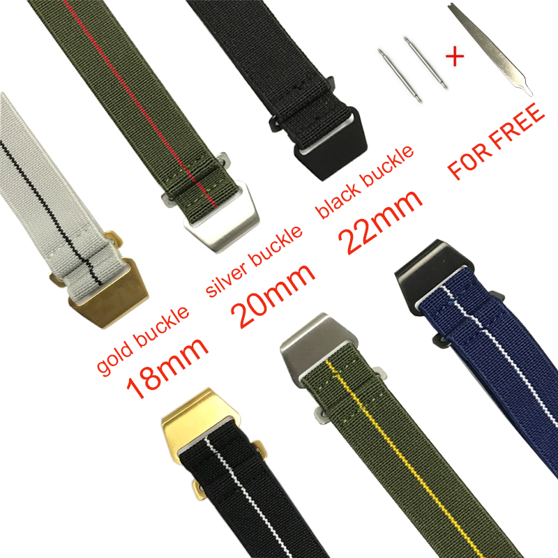 New Elastic Watch Strap French Troops Parachute Strap Nato Nylon Belt Watchband 18mm 20mm 22mm With Black Gold Silver Buckle #E