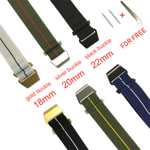 New Elastic Watch Strap French Troops Parachute Strap Nato Nylon Belt Watchband 18mm 20mm 22mm With Black Gold Silver Buckle #E купить недорого в Москве