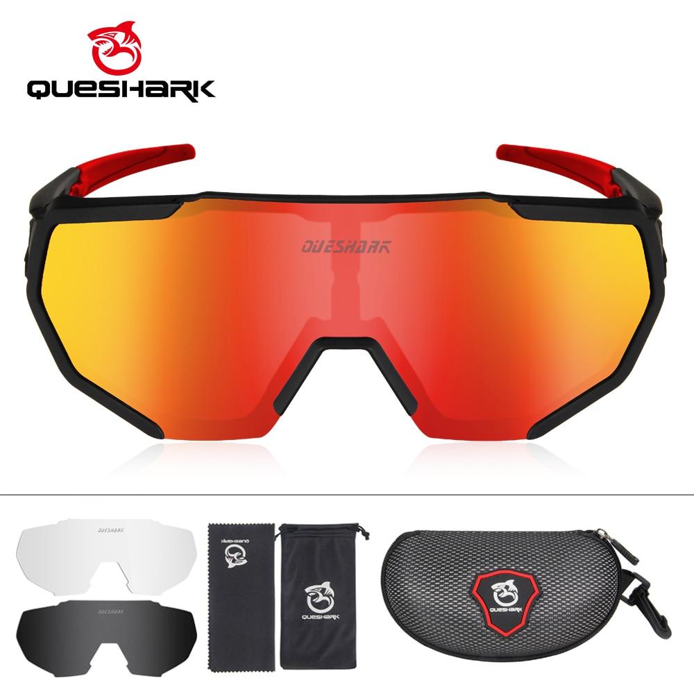 QUESHARK 2019 New Design Polarized Cycling Glasses For Man Women Bike Eyewear Sunglasses 3 Lens Mirrored UV400 Goggles