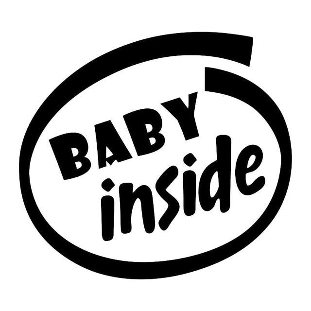 Baby Binnen Baby Aan Boord Grappige Woorden Auto Sticker Voor Auto Lichaam Kid Infant Achter Voorruit Vinyl Decal Zwart/zilver