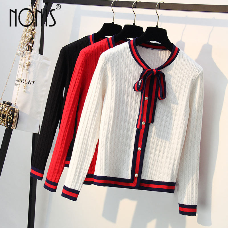 Nonis Woman Thick Winter Autumn Knitted Cardigan Elegant Pearl Button Sweater OL Style Bow Tie Jacket Stripe O Neck Long Sleeve