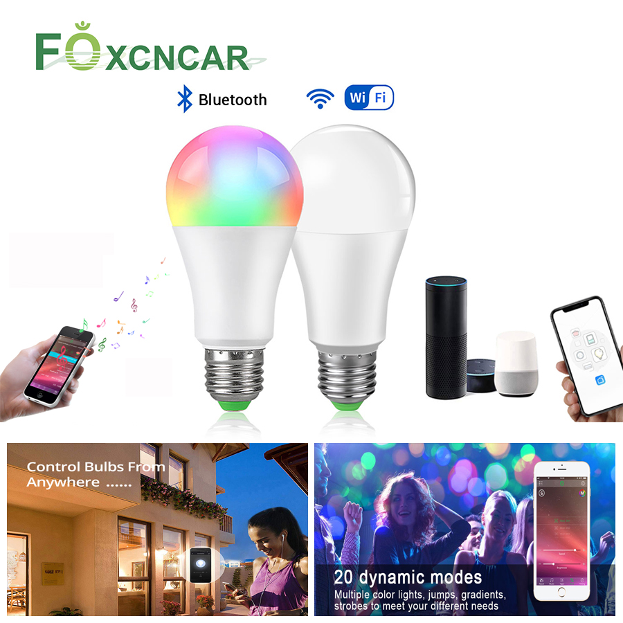 E27 LED Lamp Smart WIFI Bulb RGB 15W Bluetooth APP Control Smart Bulb Light Lamp Dimmable Kitchen Under Cabinet Home Lighting