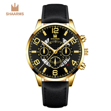 SHAARMS 2019 Men's Wrist Watch Stainless Steel Case Leather Band Quartz Analog Watch Man Watches Relogio Masculino Drop Shipping sunward relogio masculino men watches stylish wholesale retro design leather band analog alloy quartz wrist watch mar10