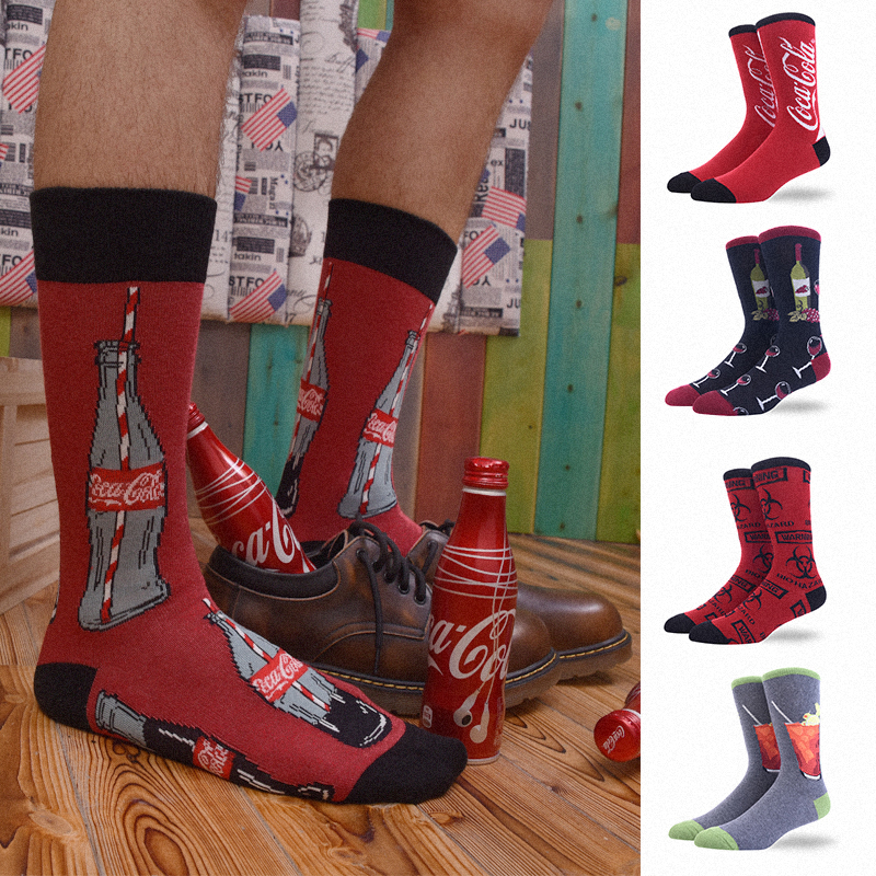 Happy Socks Funny Cool Hip Hop Men Cotton Winter Long Novelty Art Fashion Street Style Gift For Personalized Crazy High Quality