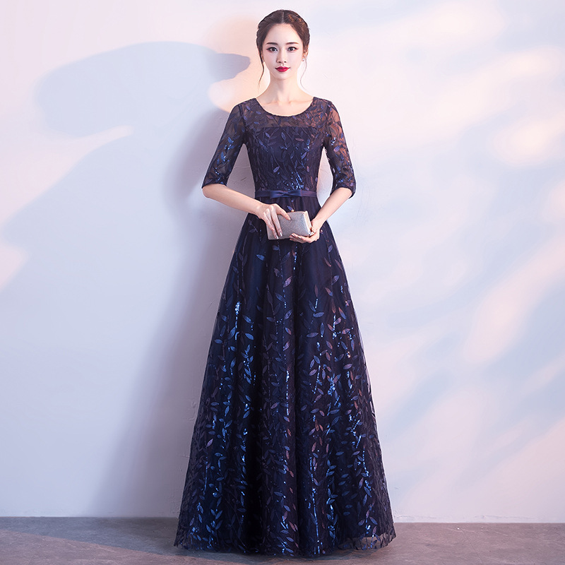 Evening Gown Women's 2019 New Style Banquet Nobility Elegant Long Slimming Party Host Half-sleeve Shirt Dress