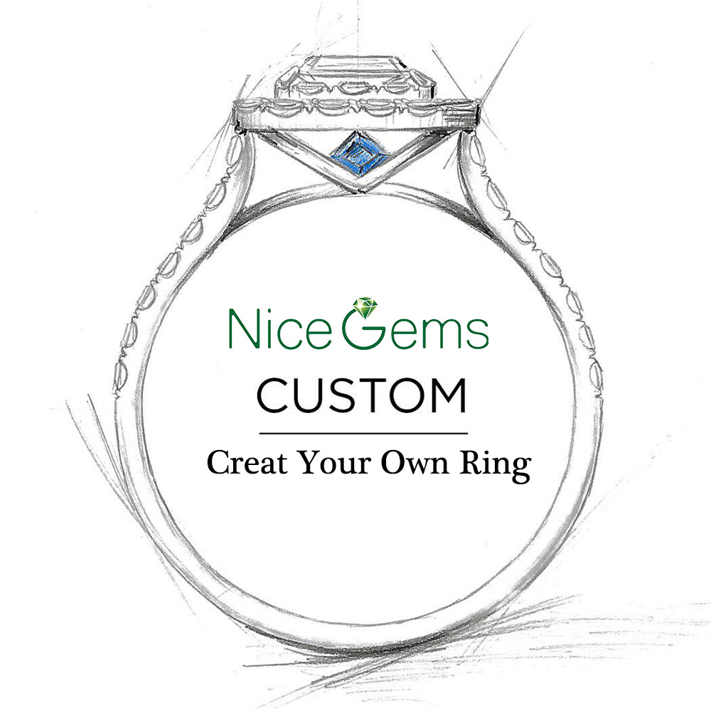 Customize You Own Engagement Ring 0.3ct-12ct Moissanite Diamond Ruby Emerald Sapphire Ring 9K 10K 14K 18K Gold(China)