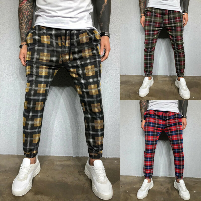 2020 Sexy High Wasit Spring Summer Fashion Pocket Men's Slim Fit Colorful Plaid Straight Leg Trousers Pencil Jogger Casual Pants