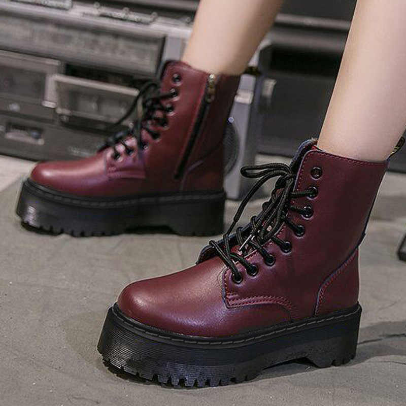 Doc femmes bottes plate-forme bottes pour Martin bottes dames en cuir femmes bottines femme hiver chaussures femmes chaussons Botas Mujer