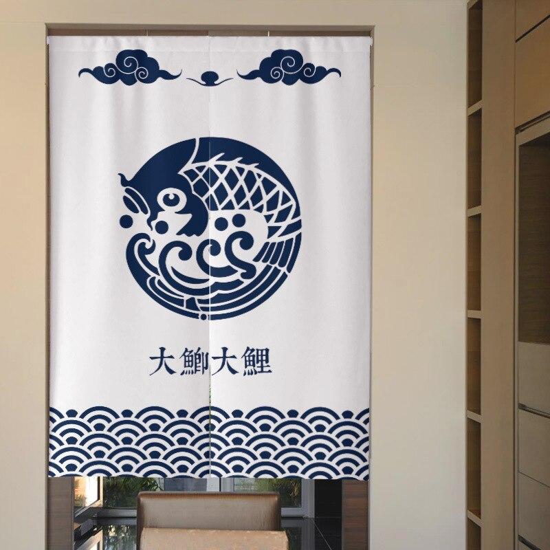 Japanese Koi Noren Kitchen Door Curtain Bedroom Restaurant Decorative Curtain Half Curtain Feng Shui Curtain Partition Curtain