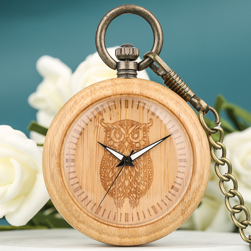 Owl Watch Bamboo Pocket Watches Special Carved Wooden Dial Vintage Bronze Rough Chain Necklace Pendant Clock Men Women