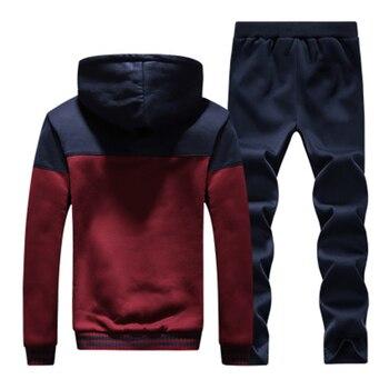 2019 Men Warm Sets Fashion Sporting Thick Suit Patchwork Zipper Hooded Sweatshirt +Sweatpants Mens 2 Pieces Sets Slim Tracksuit 2