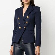 คุณภาพสูงใหม่แฟชั่น 2019 Designer เสื้อแจ็คเก็ต Blazer ผู้หญิงปุ่มโลหะสิงโต Double Breasted Blazer เสื้อด้านนอกขนาด S XXXL