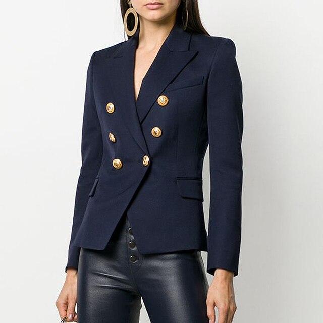 Yüksek kalite yeni moda 2020 tasarımcı Blazer ceket kadın Metal aslan düğmeler çift Breasted Blazer dış ceket boyutu S XXXL