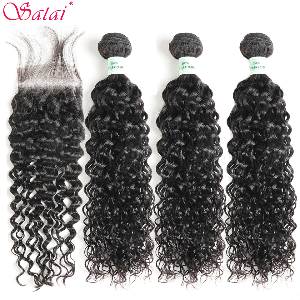 Satai Hair Extension Water Wave 3 Bundles With Closure 100% Human Hair Bundles With Closure Peruvian Hair Bundles Non Remy Hair