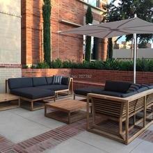 Роскошный Тиковый открытый секционный диван патио для отдыха сад гостиная мягкий уголок мебель