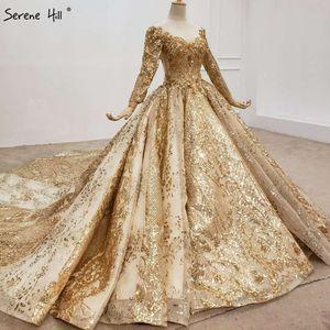 Image 3 - Altın lüks uzun kollu o boyun gelinlik 2020 Dubai boncuk Sequins High end gelin elbise HX0130 custom Made