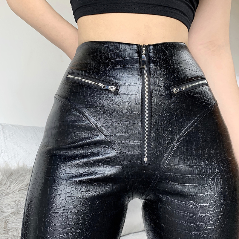 InsGoth Leather Pants Crocodile Skin Bodycon Black High Waist Long Trousers Gothic Streetwear Punk Women Leather Pants 1