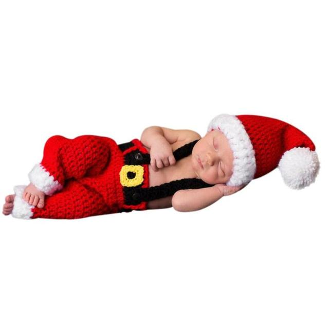 Newborn Infant Christmas Theme Photography Props Clothing Suspender Trousers+Hat European Children's Photographic Costumes