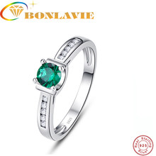 BONLAVIE 925 Sterling Silver Green Stone White Cubic Zirconia Ring Simple Style Female Elegant Ring For Women Wedding Jewerly(China)