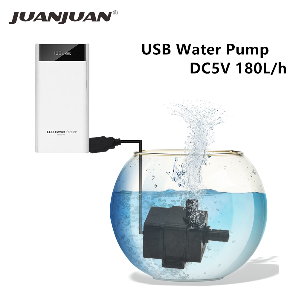 DC 5V USB Water Pump Submersible Water Pump Waterproof Low Noise Brushless DC Pump Brushless Water Pump Aquarium Tank 40%off