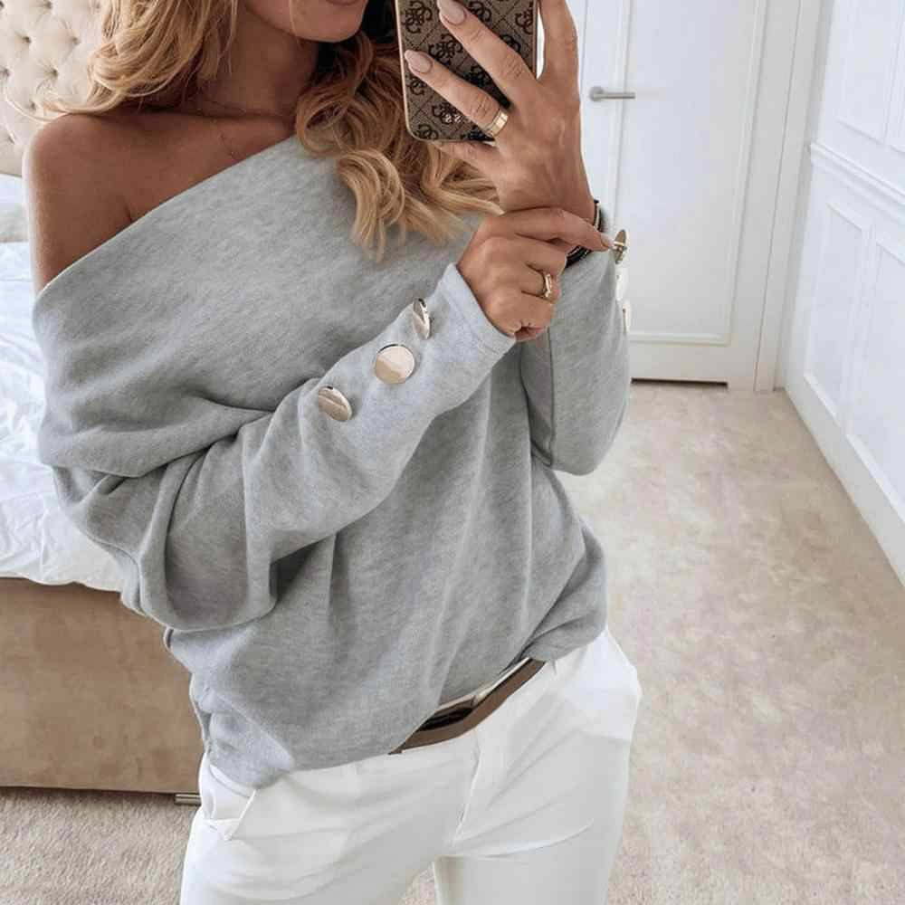Frauen Sexy Slash Neck Solid Stricken Pullover Elegante Herbst Winter Lange Hülse Taste Pullover Off Schulter Streetwear Tops #1125