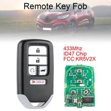 433Mhz Fsk Suv 5 Knoppen Smart Keyless Auto Remote Fob Met ID47 Chip KR5V1X Voor Honda Piot CR-V Civic 2016 2017 2018 2019(China)