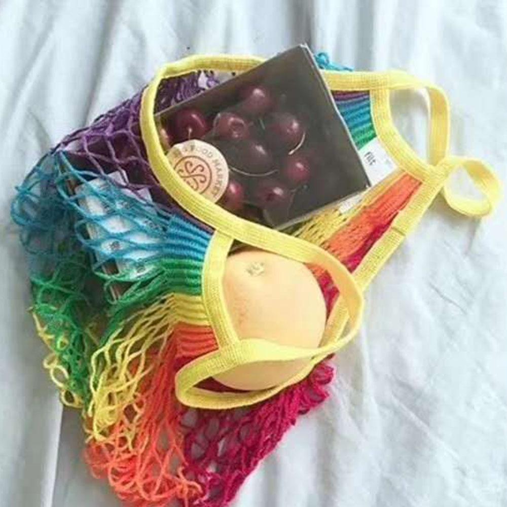 2019 New Rainbow Color Large Mesh Net Turtle Bag String Shopping Durable Fruit Storage Handbag  Mesh Tote Net Woven Shoulder Bag
