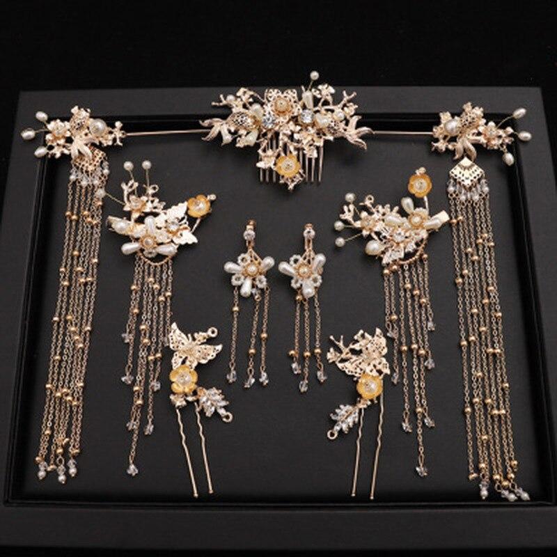 Заколка для волос в традиционном китайском стиле, золотые гребни, свадебные аксессуары, повязка на голову, головной убор, ювелирное украшен...
