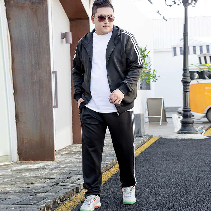 Spring and Autumn Period Big Code Sports Suit Male The Fat Fatten Enlarge Leisure Time Two Piece Suit Hooded Cap Zipper Suit
