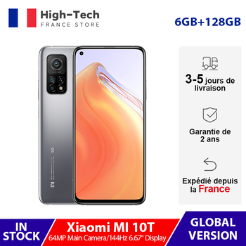 "Global Version Xiaomi Mi 10T 10 T 6GB 128GB 144Hz 6.67"" Display Smartphone Snapdragon 865 Octa Core 64MP Rear Triple Camera 5G"
