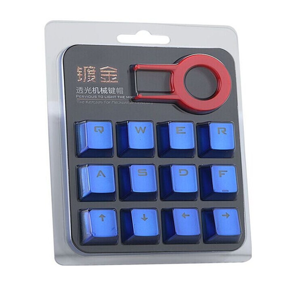 12 Keys PBT Double Shot Injection Backlit Metallic Electroplated Keycaps For Mechanical Switch Keyboards