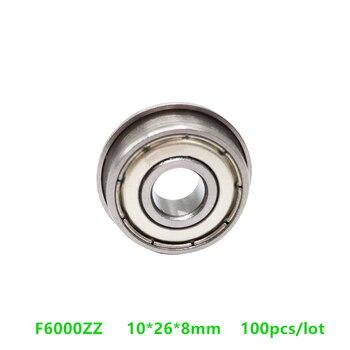 100 unids/lote rodamiento con bridas F6000 F6000Z F6000ZZ brida miniatura rodamientos de bolas de ranura profunda F6000-2Z 10*26*8mm