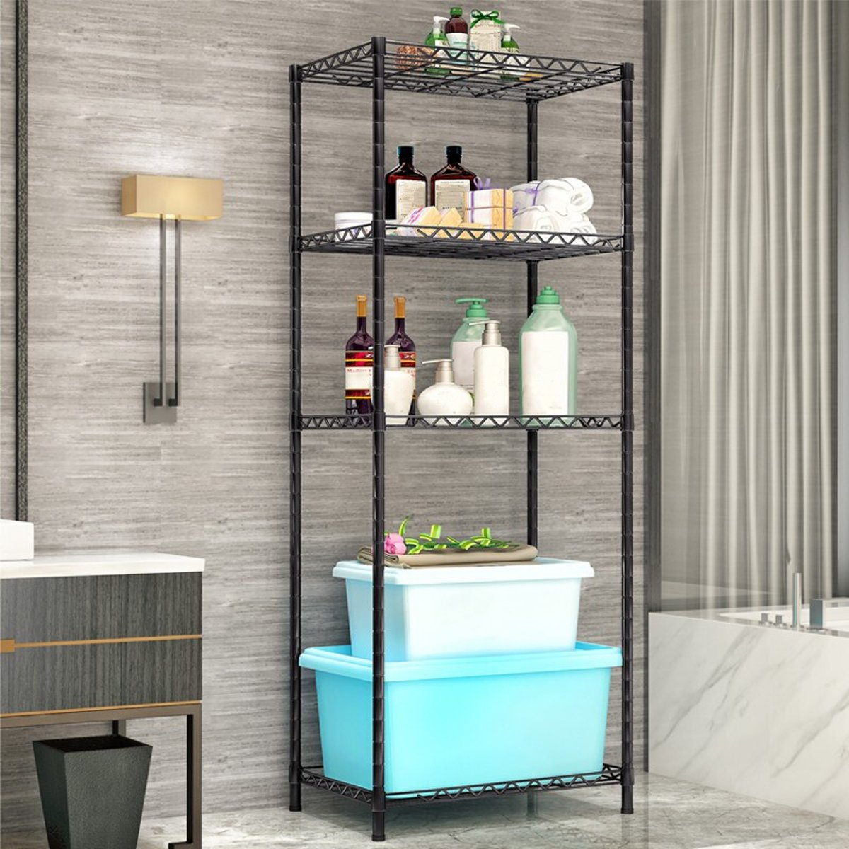 4-Tier Steel Wire Shelving Unit Organizer Rack Holder Home Kitchen Storage Shelf Bookshelf Storage Books Display Adjustable
