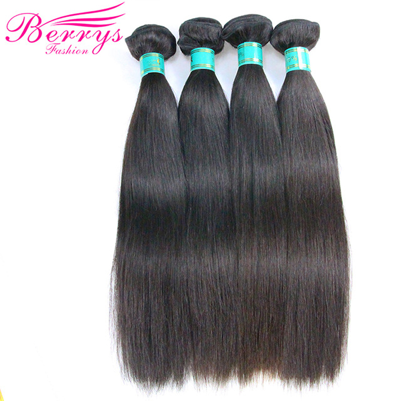 Brazilian Virgin Hair Straight 4 Bundles Per Lot Unprocessed Human Hair Extensions Double Machine Weft Berrys