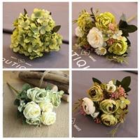 Grün Künstliche Blumen Pfingstrose Tee Rose Herbst Seide Gefälschte Blumen für DIY Wohnzimmer Home Garten Hochzeit Dekoration