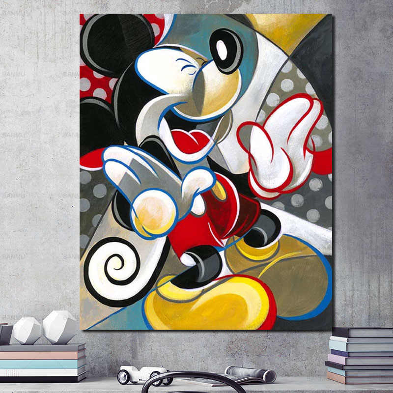 Woondecoratie Hd Prints 1 Panel Schilderen Cartoon Mickey Mouse Pictures Wall Art Modulaire Canvas Poster Moderne Nachtkastje Achtergrond