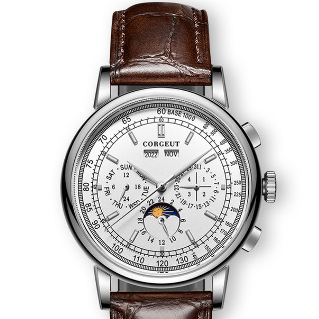 Berühmte Marke 42mm CORGEUT Weiß Zifferblatt Datum Tag Kaffee Lederband Multifunktions Automatische Herren Uhr Solide Edelstahl Fall