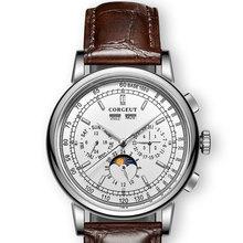 Beroemde Merk 42Mm Corgeut Witte Wijzerplaat Datum Dag Koffie Lederen Band Multifunctionele Automatische Heren Horloge Roestvrij Staal Zaak