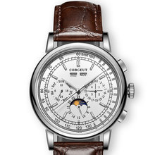 Famous Brand 42mm CORGEUT White Dial Date Day Coffee Leather Strap Multifunction Automatic Mens Watch Solid Stainless Steel Case