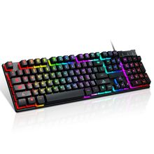 USB Wired Gaming Keyboard 104 Key Mechanical Feeling Gamer Keyboard for Computer M17F